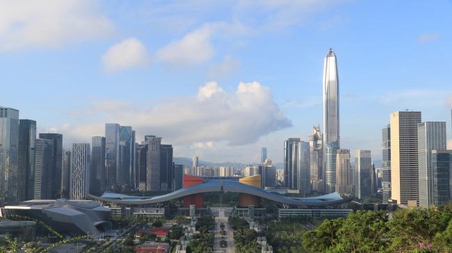 Civic Center, Shenzhen China, taken from Lianhuashan park, Shenzhen China